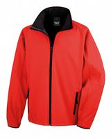 RED WITH BLACK RESULT SOFT-SHELL JACKET